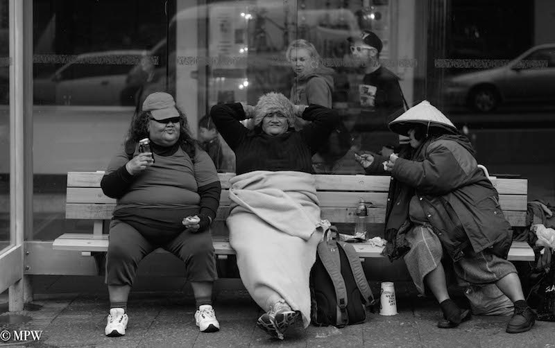 Mike wheelton black and white colour street photography queen street auckland city